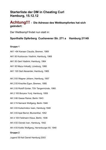 Starterliste der DM in Cheating Curl Hamburg, 15.12.12 Achtung!!!