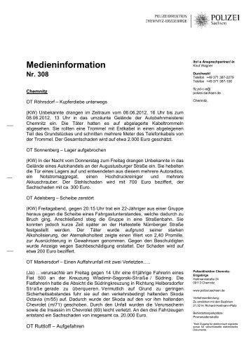 Medieninformation Nr. 308 - Polizei Sachsen
