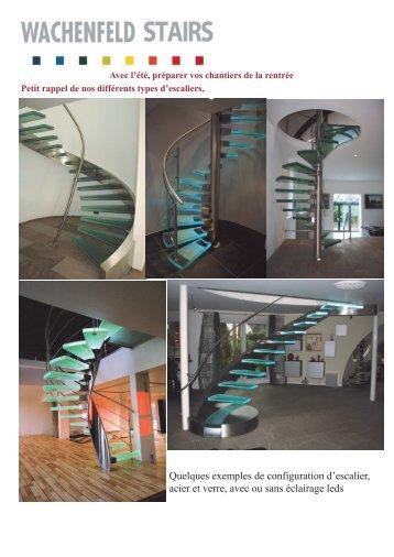 Quelques exemples de configuration d'escalier, acier et verre, avec ...