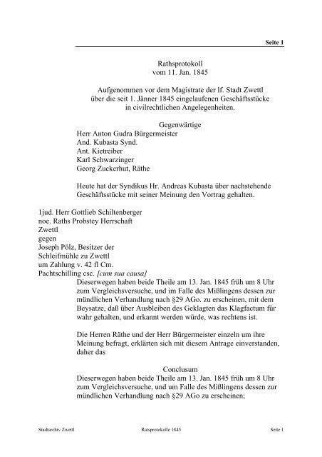 Rathsprotokoll vom 11. Jan. 1845 Aufgenommen vor dem ... - Zwettl