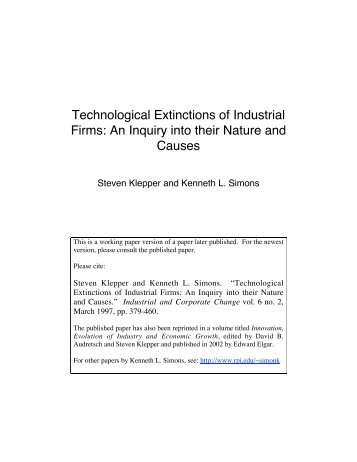 Technological Extinctions of Industrial Firms: An Inquiry into their ...