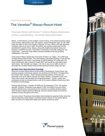 The Venetian Macao-Resort-Hotel - Powerwave Technologies