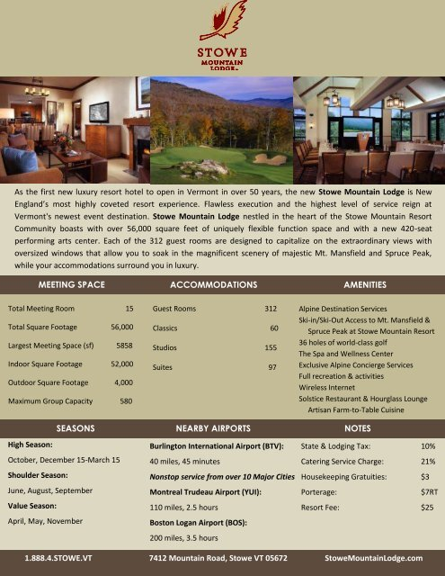 As the first new luxury resort hotel to open in Vermont in over 50 ...
