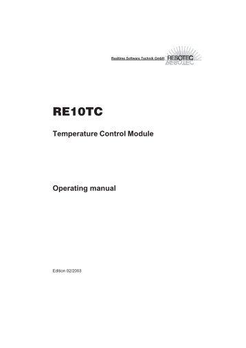 RE10TC Temperature Control Module Operating manual