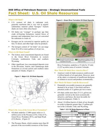 Fact Sheet: U.S. Oil Shale Resources - DOE - Fossil Energy - U.S. ...