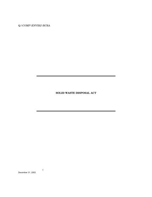 Solid Waste Disposal Act - U.S. Senate Environment and Public ...