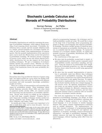 Stochastic Lambda Calculus and Monads of Probability Distributions