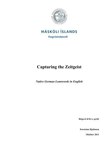 Capturing the Zeitgeist Native German Loanwords in ... - Skemman