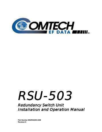 RSU-503 Redundancy Switch Unit Installation ... - Comtech EF Data