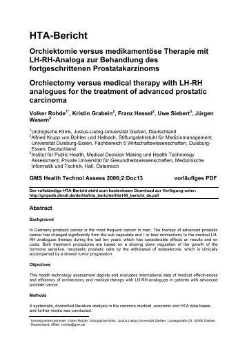 HTA-Bericht Orchiektomie versus medikamentöse Therapie mit LH ...