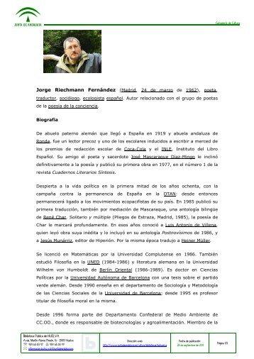 Jorge Riechmann Fernández (Madrid, 24 de ... - La mar de libros
