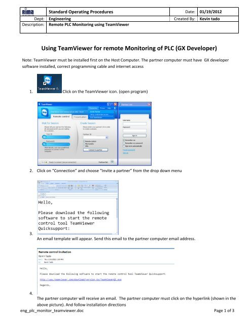 Using TeamViewer for remote Monitoring of PLC (GX Developer)