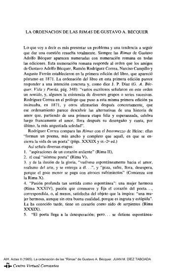"""Actas II. AIH. La ordenación de las """"Rimas"""" de Gustavo A. Bécquer ..."""