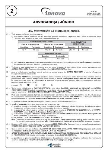 PROVA 2 - ADVOGADO(A) JÚNIOR.indd - Concursos