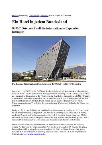 Ein Hotel in jedem Bundesland RIMC Österreich soll die ...