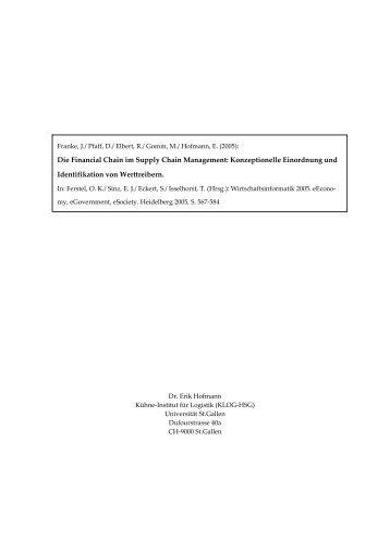 Die Financial Chain im Supply Chain Management - Alexandria ...