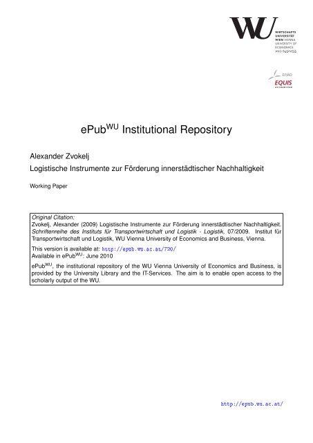 Schriftenreihe des Instituts für Transportwirtschaft und Logistik Nr. 7