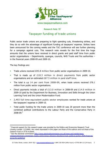 Taxpayer funding of trade unions - The TaxPayers' Alliance