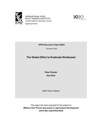 The Global Effort to Eradicate Rinderpest - International Food Policy ...