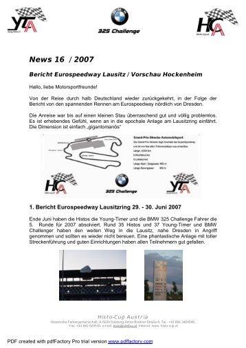 News 16 / 2007 - Histo-Cup Austria