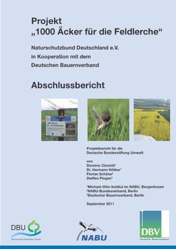 """Projekt """"1000 Äcker für die Feldlerche"""""""