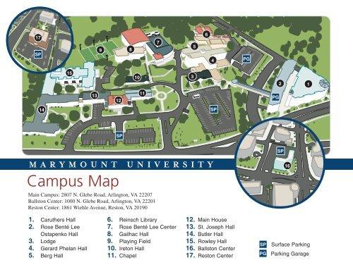 St Rose Campus Map.Campus Map Marymount University In Arlington Virginia