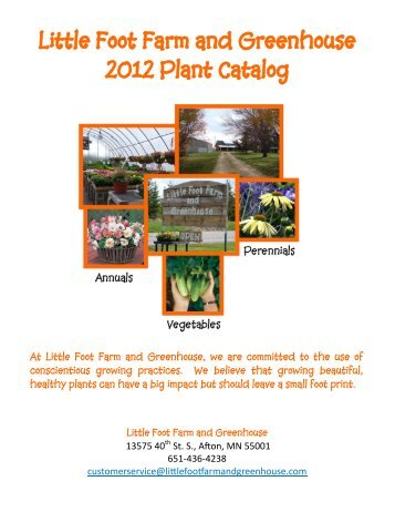 Little Foot Farm and Greenhouse 2012 Plant Catalog