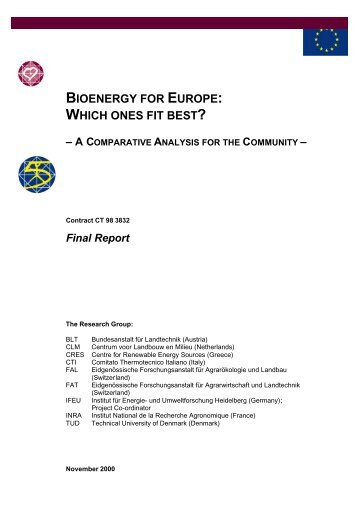 BIOENERGY FOR EUROPE: WHICH ONES FIT BEST?