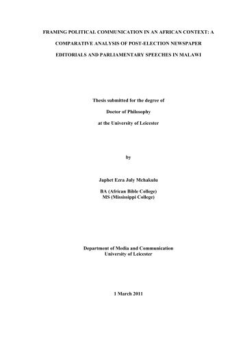 Chapter Five 1999 Post-Elections Period - Leicester Research ...