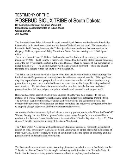 ROSEBUD SIOUX TRIBE of South Dakota - US Senate Committee