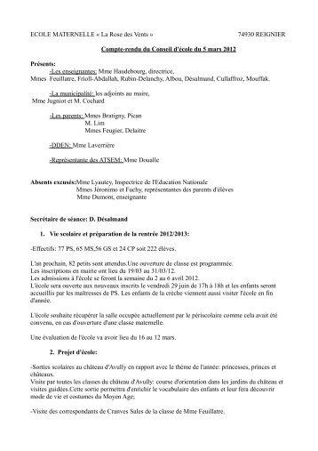 ECOLE MATERNELLE « La Rose des Vents » 74930 REIGNIER ...