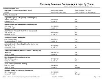 Currently Licensed Contractors, Listed by Trade - Sarasota County's ...