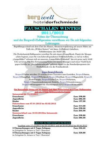 Pauschalen Winter 2012 deutscho - Bergwell Hotel Dorfschmiede