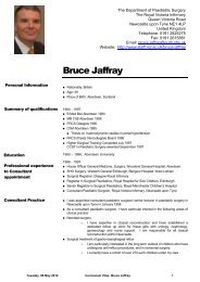 Curriculum Vitae for Bruce Jaffray - Staff Home Pages