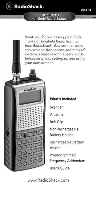 Pro-164 Manual - Radio Shack