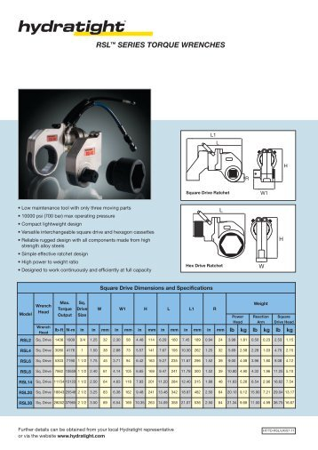 RSL™ SERIES TORQUE WRENCHES - Hydratight