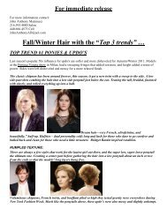 """Fall/Winter Hair with the """"Top 3 trends"""" … - Dino Palmieri Salon & Spa"""