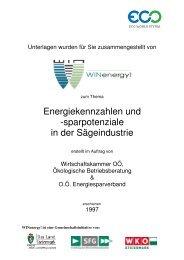 Energiekennzahlen und Sparpotenziale in der Sägeindustrie - WIN