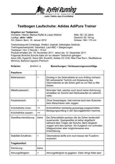 Testbogen Laufschuhe: Adidas AdiPure Trainer SportXX