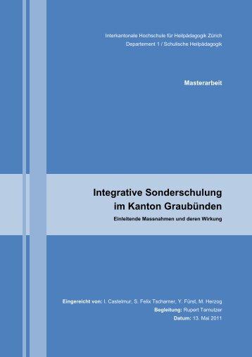 Masterarbeit Integrative Sonderschulung im Kanton ... - BSCW
