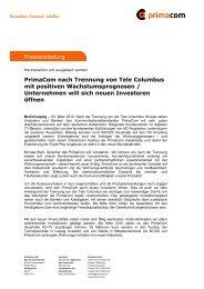 Pressemitteilung PrimaCom nach Trennung von Tele Columbus mit ...