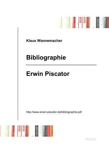 Klaus Wannemacher Bibliographie Erwin Piscator