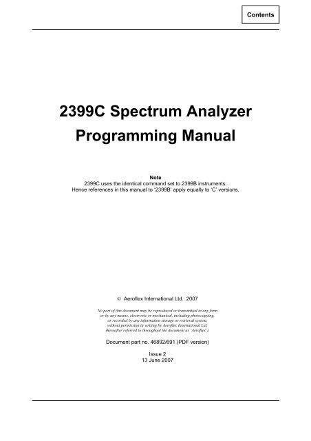 2399C Programming Manual - Aeroflex
