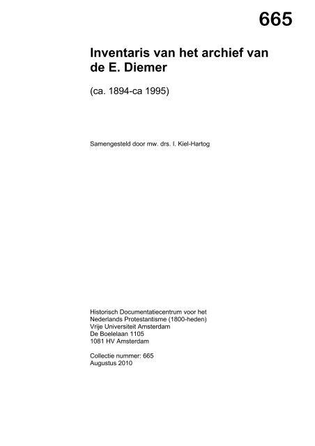 665 Inventaris Van Het Archief Van De E Diemer Historisch