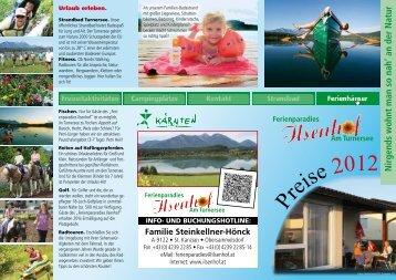 Preisliste - Ferienparadies Ilsenhof