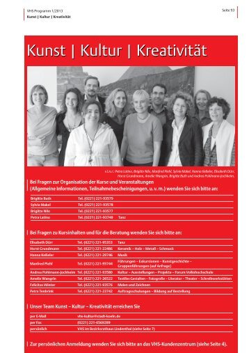VHS-Programm 1-2013: Kunst-Kultur-Kreativität - Stadt Köln