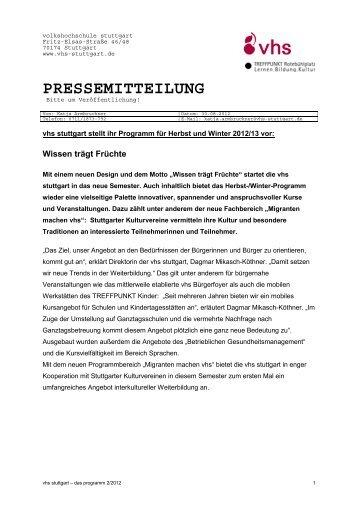 PRESSEMITTEILUNG - Volkshochschule Stuttgart