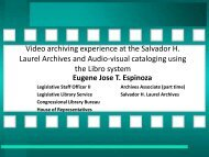 Video Archiving Experience At The Salvador H. Laurel