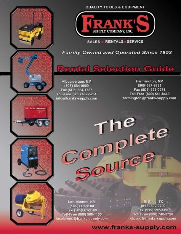 Quality Tools & Equipment Rental Equipment Catalog - Frank's Supply