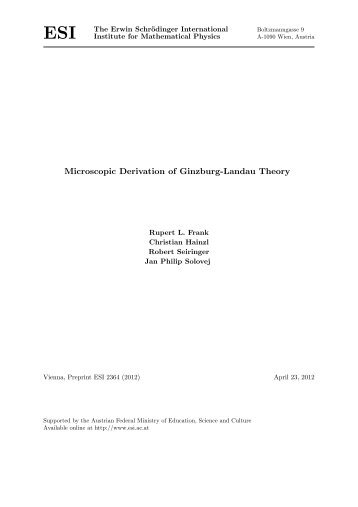Microscopic Derivation of Ginzburg-Landau Theory